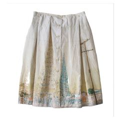 Dosa 'Watts Towers' Dutch Skirt. This poplin skirt's pattern is based on artist Gloria Stewart's paintings of the Watts Towers in LACMA's permanent collection. Dosa 'Watts Towers' Dutch Skirt