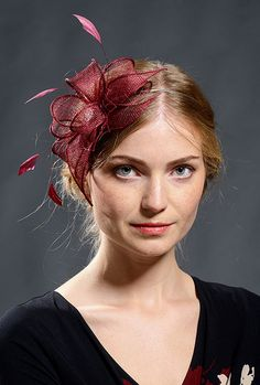 Red wine, cranberry colour fascinator for your special occasions- new style and colour for coming A/W events