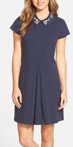 embellished collar dress - best of Nordstrom Anniversary Sale! Dressy Dresses, Dresses For Work, Love Fashion, Fashion Outfits, Womens Dress Suits, Dress Attire, Professional Dresses, Nordstrom Anniversary Sale, Navy Dress