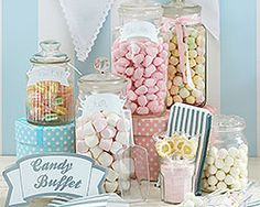 The kit includes a sign saying Candy Buffet 25 pretty silver and white stripey candy bags 5 blank tags with ribbon for you to write on and attach to