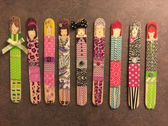 (c) Donna Dunnagan tape dolls! Popsicle Stick Art, Popsicle Stick Crafts, Craft Stick Crafts, Paper Crafts, Diy Arts And Crafts, Crafts For Kids, Frozen Crafts, Arte Quilling, Material Didático