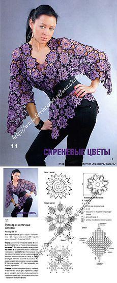 """Пуловер """"Сиреневые цветы"""" из мотивов (крючок).."""