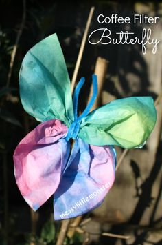 Preschool Coffee Filter Butterfly Craft for Kids. A fun art process using coffee filters and paint for toddlers or preschoolers (EYFS). Spring or summer craft i… - Preschool Children Activities Summer Activities For Toddlers, Spring Crafts For Kids, Spring Activities, Crafts For Kids To Make, Art For Kids, Kids Fun, Eyfs Activities, Insect Activities, Work Activities