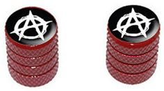 "(2 Count) Cool and Custom ""Diamond Etching Anarchy Symbol Top with Easy Grip Texture"" Tire Wheel Rim Air Valve Stem Dust Cap Seal Made of Genuine Anodized Aluminum Metal {Blood Volkswagen Red and Black Colors - Hard Metal Internal Threads for Easy Application - Rust Proof - Fits For Most Cars, Trucks, SUV, RV, ATV, UTV, Motorcycle, Bicycles} mySimple Products http://www.amazon.com/dp/B0106UYHMK/ref=cm_sw_r_pi_dp_PbFEwb1K0HB96"