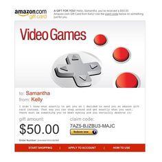 Amazon Gift Card - E-mail - Amazon Video Games $50.00