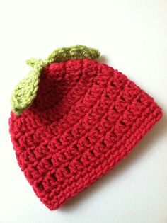 Apple Hat Crochet Baby Hat Red Apple Baby by LakeviewCottageKids, $18.00