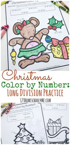 FREE Christmas Color by Number to help 3rd grade, 4th grade, and 5th grade students practice division. These fun christmas printables are great to make learning fun in December with math worksheets perfect for math centers, homeschool, Christmas break, and extra practice.