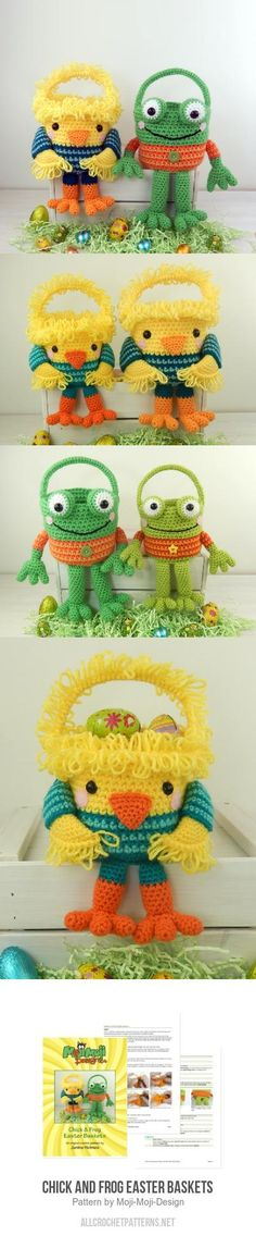 Chick and Frog Easter Baskets crochet pattern