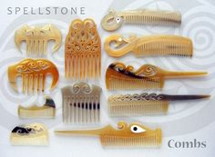 These beautiful combs are hand carved from black water buffalo horn to gently groom your hair without static electricity and damage.  They are designed for special sorts of hair: thick curly hair, fine fly-away hair, and long, heavy hair.