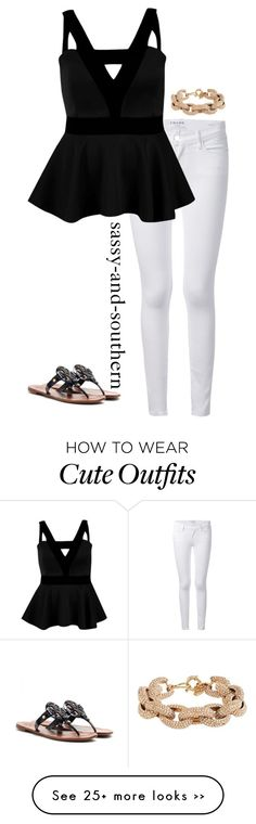 """""""cute outfit for dinner"""" by sassy-and-southern on Polyvore featuring Frame Denim, Boohoo, Tory Burch and J.Crew"""