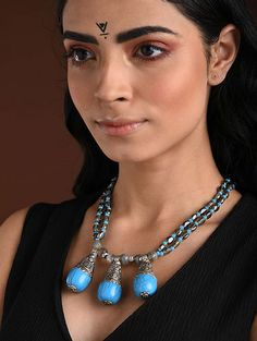 Buy The Stone Age Parampara Elevate your look with spectacular silver-tone stone-beaded jewelry for over-the-top statement Online at Jaypore.com Fashion Jewelry Necklaces, Beaded Jewelry, Shopping Coupons, Backpack Brands, Stone Age, Necklace Online, Blue Grey, Turquoise Necklace, Im Not Perfect
