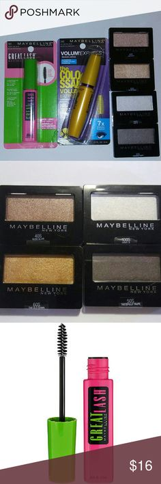 Maybelline Eye Bundle Four beautifully shimmery and flattering eye-shadow colors as well as two mascaras! Everything is brand new and priced at a great bargain!  Includes 4 Shadows 40S, 50S, 60S, 100S One Great Lash Mascara, color 101 Very Black One The  Colossal Volume Express, 7X Volume, waterproof,  in 240 Glam Black Maybelline Makeup