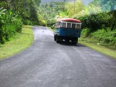 Typical Samoan bus that goes around the island, Upolu, Western Samoa