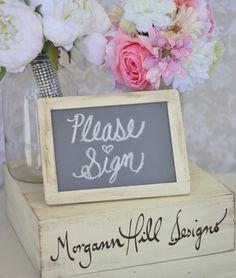 Rustic Wedding Chalkboard Sign 5x7 Free Standing Shabby Chic Decor (item P10007) on Etsy, $10.00