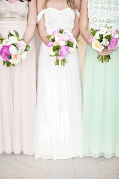 Bright pastels: http://www.stylemepretty.com/2015/07/27/mix-n-match-bridesmaids-dresses-youll-love/