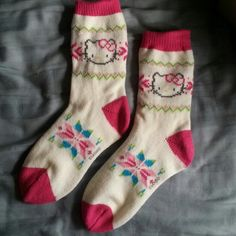 """Hello Kitty Socks Warm knitted hello kitty socks :) never worn!  All orders ship same or next day NO Trades/Paypal/Mercari Bundles are always discounted """"Offer"""" button offers welcome and encouraged!  Any questions, just ask me! HAPPY POSHING ❤ Hello Kitty Accessories Hosiery & Socks"""