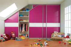 fitted sliding wardrobe doors in pink glass white glass (from sliderobes)