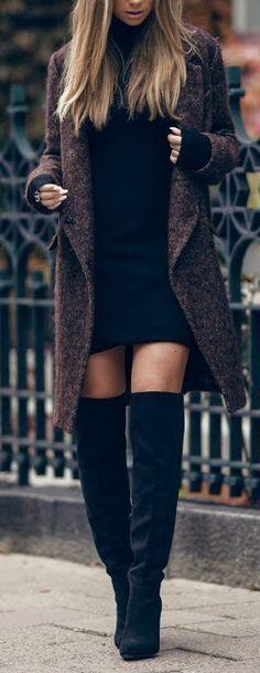 Testaria como um look sexy. Casaco longo para não me preocupar com o comprimento do vestido. Combinação de cores escuras.
