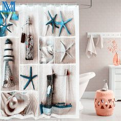 Sea Life Seashell Starfish Waterproof Shower Curtain Bathroom Products Thicken Bath Curtain #Affiliate