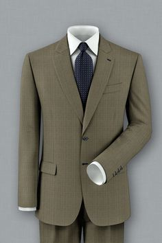 Keep up appearances in this tan and blue glen plaid suit. Customize it with some blue accent stitching and a captivating lining. In a suit like this you are destined to get some stares.