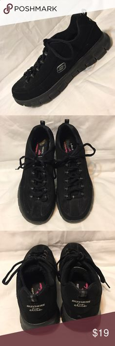 Sketchers Elite Memory Foam Sneakers Tennis Shoes Sketchers with soft comfortable memory foam insole. Black sueded fabric upper. Good preowned condition with minor wear on sole and insole.. sketcher Shoes Athletic Shoes