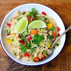 Smoked Rice Salad with shrimp, peppers, cucumbers, scallions, scallions, and lime juice dressing