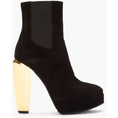MARNI Black Suede Gold-Heeled Ankle Boots (6.683.850 VND) ❤ liked on Polyvore featuring shoes, boots, ankle booties, high heel ankle boots, black bootie, black booties, black platform booties and black boots