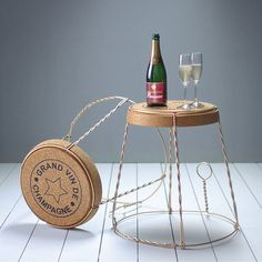champagne cork wire cage side table by impulse purchase   notonthehighstreet.com