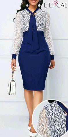 Lace Panel Tie Neck Back Slit Sheath Dress Latest African Fashion Dresses, Women's Fashion Dresses, Dress Outfits, Classy Dress, Classy Outfits, Elegant Dresses, Casual Dresses, Lace Dress Styles, Mode Glamour