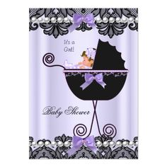 Baby Shower Baby Girl Lavender Purple Black Lace Custom Invitations