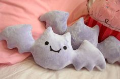 bat plush| $20  kawaii pastel goth nu goth creepy cute creepy kei fachin plush home decor bat pillow under20 under30 etsy
