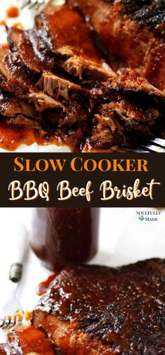 Slow Cooker Beef Brisket is tender, juicy, and infused with tons of flavor and topped off with a homemade BBQ sauce! Quick and easy to prepare, put it in your slow cooker and finished off in the oven Beef Brisket Recipes Crockpot, Beef Brisket Slow Cooker, Corned Beef Recipes, Corned Beef Brisket, Pork Recipes, Brisket On The Grill, Brisket Bbq Sauce Recipe, Bbq Brisket Oven, Bbq Beef Crockpot