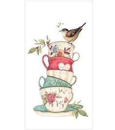 Susan Winget Stacked Tea Cup Flour Sack Hand Towel