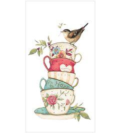 Susan Winget Stacked Tea Cup Flour Sack Hand Towel