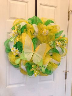 Spring green and yellow with butterfly deco mesh wreath on Etsy, $60.00