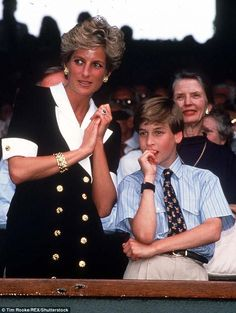 Princess Diana with Prince William at the Wimbledon Tennis Ladies Final in 1994, 3 yrs before her death.  A 20-yr anniversary observance is planned about the unexpected 1997 death 20 years ago.
