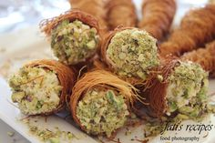 pistachios garnished - click to enlarge Lebanese Recipes, Turkish Recipes, Arabic Recipes, Arabic Sweets, Arabic Food, Kataifi Pastry, Filo Pastry, Delicious Desserts, Dessert Recipes