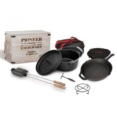Campfire Pioneer Flinders 9 Piece Cast Iron Camp Cookware set