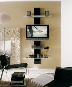 living room wall mounted tv idea for making shelving unit for mounted tv to help hide cords - Tv Mount With Shelf