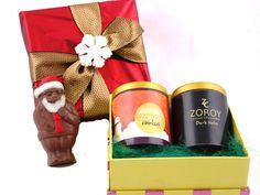 Christmas Polka Box with milk chocolate santa, a tin of cookie and another tin of Dark chocolates
