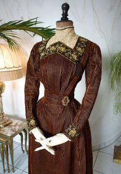 1897 samt Nachmittag Kleid antik antike Kleid