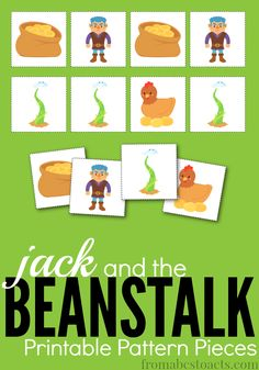 Creating patterns is a lot of fun with these printable Jack and the Beanstalk pieces.  Read the story and practice those early math skills at the same time!