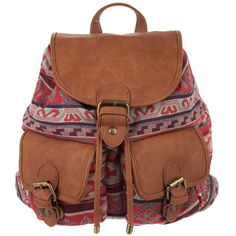 1&20 Blackbirds Aztec Backpack ($21) ❤ liked on Polyvore featuring bags, backpacks, accessories, purses, bolsos, red, flashsale, canvas drawstring bags, canvas drawstring backpack and foldable backpack