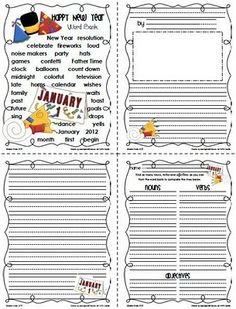 Freebie~Sailing Through 1st Grade: January Word Banks and Matching Writing Paper