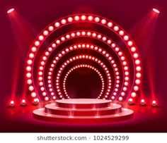 Stage podium with lighting, Stage Podium Scene with for Award Ceremony on red Background, Vector illustration Podium Wedding Background Images, Studio Background Images, Light Background Images, Red Background, Bühnen Design, Free Green Screen, Cabaret, Stage Set Design, Backdrop Design