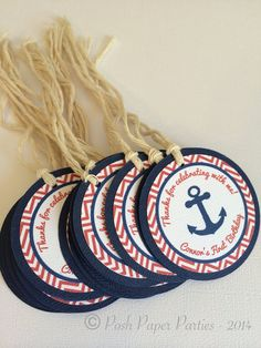 Nautical Favor Tags for First Birthday or Baby Shower - Navy - Red - White - Anchor Nautical Mickey, Nautical Favors, Nautical Party, Baby Shower Themes, Baby Boy Shower, Baby Shower Decorations, Baby Shower Marinero, Anchor Birthday, Pirate Baby