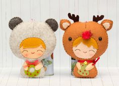 PDF Pattern. Baby bear and baby Rudolph. Christmas babies