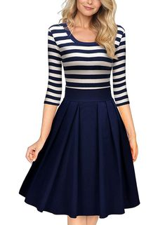 online shopping for Miusol Women's Casual Navy Style Stripe Scoop Neck Party Swing Dress from top store. See new offer for Miusol Women's Casual Navy Style Stripe Scoop Neck Party Swing Dress Plus Size Maxi Dresses, Casual Dresses, Women's Casual, Autumn Casual, Office Dresses, Casual Office, Summer Dresses, Dresses 2016, Sleeve Dresses