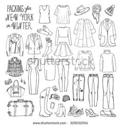 Vector illustration of packing for New York in winter. Sketch of clothes and…