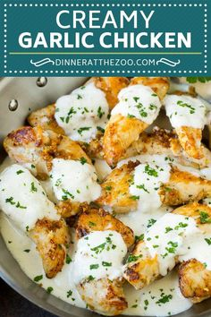This garlic chicken is chicken breast tenders with plenty of fresh minced garlic in a creamy parmesan sauce. A quick and easy restaurant quality meal.